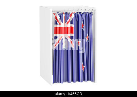 Vote in New Zealand concept, voting booth with flag, 3D renderingisolated on white background - Stock Photo