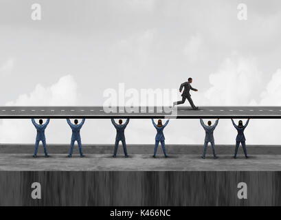 Business group support as a diverse workforce team of people holding up together a road to help a leader run towards - Stock Photo