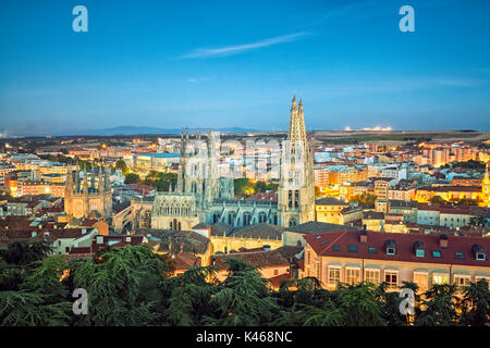 Burgos cathedral seen from the castle lookout point. Burgos. Castile and Leon. Spain - Stock Photo