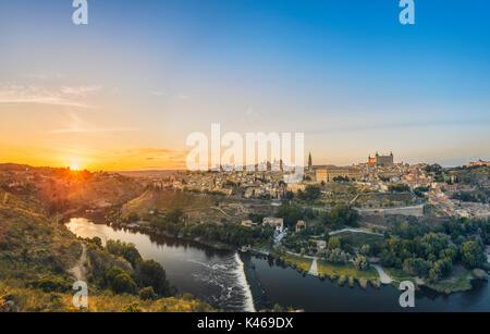 Toledo overview  at sunset. Castile-La Mancha. Spain