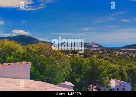 Panoramic view from Paguera towards the Bay of Palma, Mallorca - Stock Photo