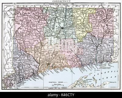 Antique map, circa 1875, of Connecticut - Stock Photo