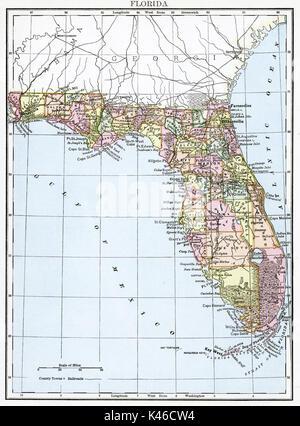 Antique map, circa 1875, of Florida - Stock Photo