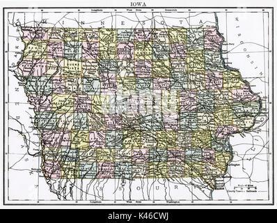 Antique map, circa 1875, of Iowa - Stock Photo