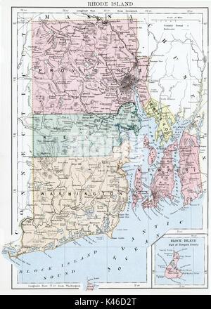 Antique map, circa 1875, of Rhode Island - Stock Photo