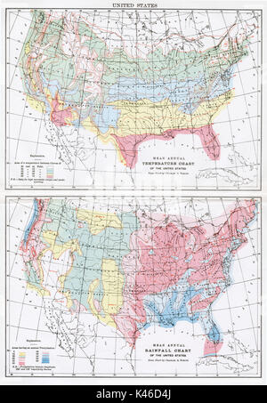 Antique map, circa 1875, of United States - Climate - Stock Photo