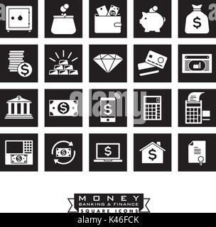 Collection of 20 money, banking and finance related black square icons - Stock Photo
