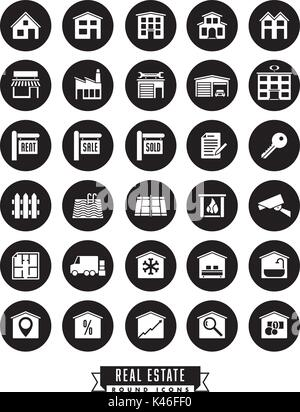 Collection of real estate round black icons on white background - Stock Photo