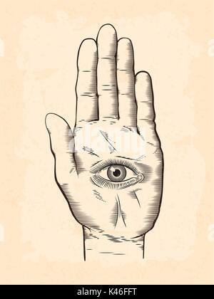 Hamsa Hand Illustration Stock Vector Art Illustration Vector