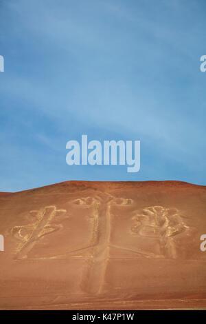 Candelabra Geoglyph, Paracas Peninsula, Paracas National Reserve, Pisco Province, Ica Region, Peru, South America - Stock Photo