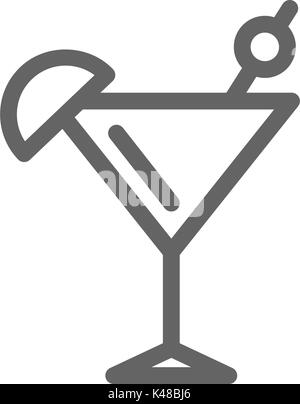 Simple cocktail line icon. Symbol and sign vector illustration design. Editable Stroke. Isolated on white background - Stock Photo
