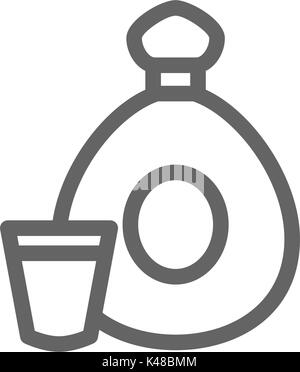 Simple cognac bottle line icon. Symbol and sign vector illustration design. Editable Stroke. Isolated on white background - Stock Photo