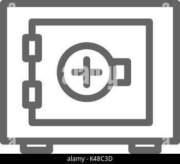 Simple bank safe line icon. Symbol and sign vector illustration design. Editable Stroke. Isolated on white background - Stock Photo