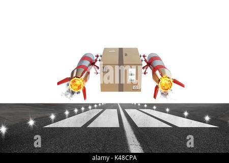 Fast delivery of package by turbo rocket. 3D Rendering - Stock Photo