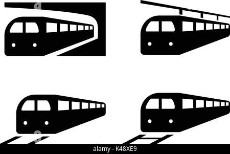 Set of train icons in silhouette style, vector design - Stock Photo