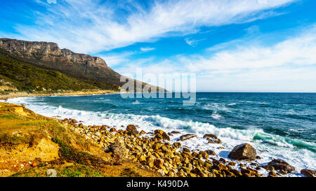The shoreline along the Twelve Apostles which is part of Table Mountain near Cape Town South Africa near Llandudno - Stock Photo