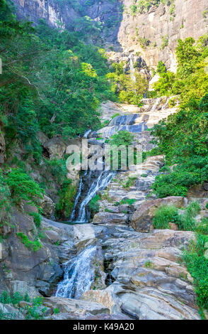 The view on Ravana Falls, popular tourist destination next to Ella, Sri Lanka - Stock Photo