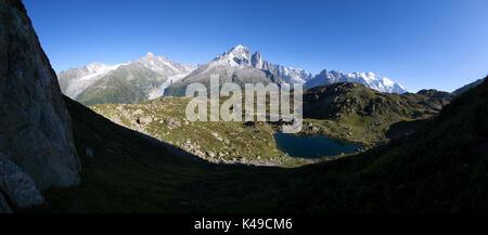 Aiguille Verte Les Drus Aiguille Du Chardonnet Monte Bianco. Haute Savoie. France - Stock Photo