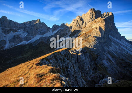 Blue sky on the rocky peaks Furcella De Furcia Odle Funes Valley South Tyrol Dolomites Trentino Alto Adige Italy - Stock Photo