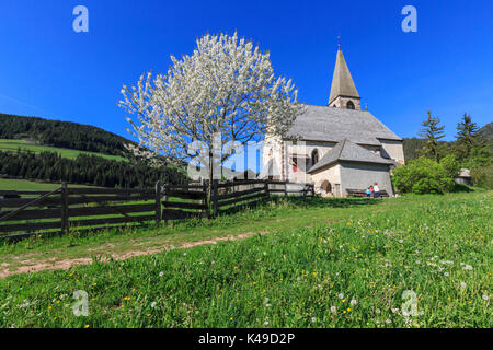 The Church of Ranui St. Magdalena Val di Funes Dolomites in South Tyrol Italy Europe - Stock Photo