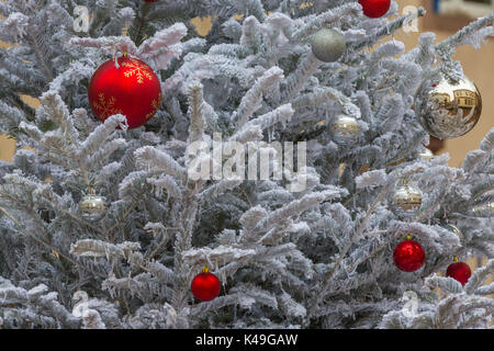 Details of artistic ornaments and decorations on Christmas tree Kaysersberg Haut-Rhin department Alsace France Europe - Stock Photo