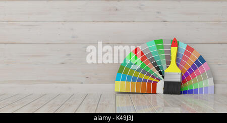 Paint colors catalogue and brush on wooden background. 3d illustration - Stock Photo