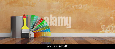 Paint colors catalogue and brush on a wooden floor. 3d illustration - Stock Photo