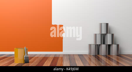 Painting of an empty wall. Home renovation concept. 3D illustration - Stock Photo