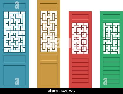 Set of rectangle Chinese door with pattern in flat, vector - Stock Photo