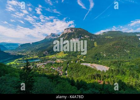 Auvergne Rhone Alpes Region. Magland Commune in Haute-Savoie department. Summer Landscape. - Stock Photo