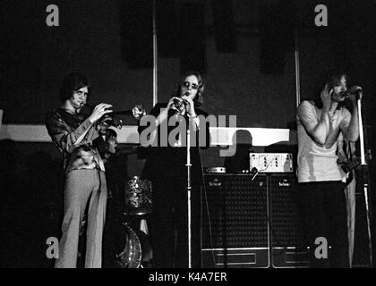 Trumpeter Alan Bown performs with his psychedelic group The Alan Bown! in the Anson Rooms at Bristol University's - Stock Photo