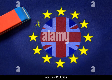 Flag Of Europe, Union Jack And Eraser, Brexit - Stock Photo