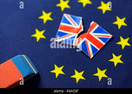 Flag Of Europe, Torn Union Jack And Eraser, Brexit - Stock Photo