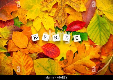 Pension, German Word Rente - Stock Photo
