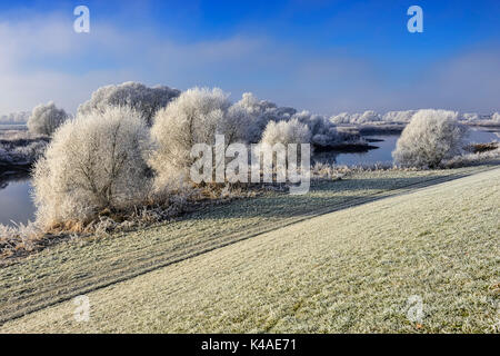 Hoarfrost Winter Landscape In Kirchwerder, Hamburg, Germany - Stock Photo