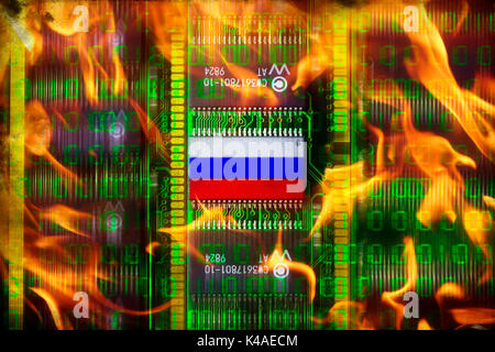 Computer Board In Flames, Russian Cyberattacks - Stock Photo