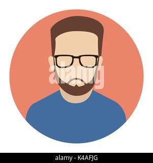 User Icon, Male with beard icon, hipster flat icon. Avatar of man with beard. Flat internet icon in rounded shape. - Stock Photo