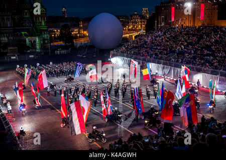Moscow, Russia - August, 2017: Ceremony of opening International Military Tattoo Music Festival 'Spasskaya Tower' - Stock Photo