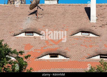 Attic Windows, Eyes of the City, Sibiu, Romania - Stock Photo