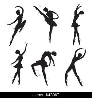 Set of ballet dancers silhouettes, black on white background. Vector hand drawn illustration - Stock Photo