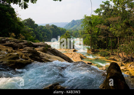View looking down and along the Aqua Azul waterfalls in Mexico - Stock Photo