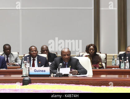 Xiamen, China's Fujian Province. 5th Sep, 2017. Guinean President Alpha Conde speaks at the Dialogue of Emerging - Stock Photo