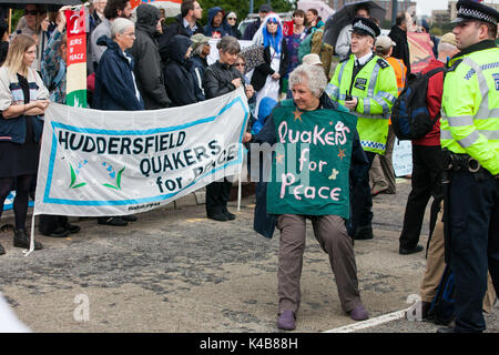 London, UK. 5th Sep, 2017. Quakers block the access road to the ExCel Centre to prevent military equipment arriving - Stock Photo