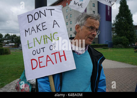 London, England, UK. 5th Sep, 2017. Activists continue protest No Faith in War at DSEI arms fair in fact arms sale - Stock Photo
