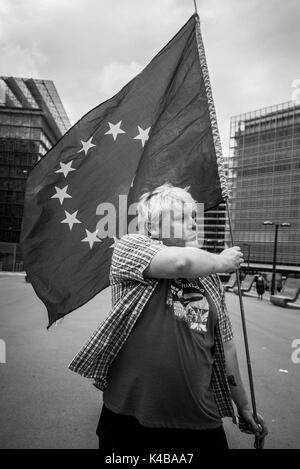 Anti-Brexit activist Drew Galdron and impersonator of British Foreign Minister Boris Johnson takes part in March - Stock Photo