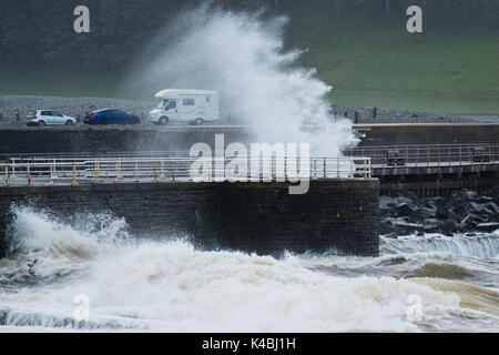 Aberystwyth Wales UK, Wednesday 06 September 2017 UK Weather: As the weather again turns unsettled and breezy, strong - Stock Photo
