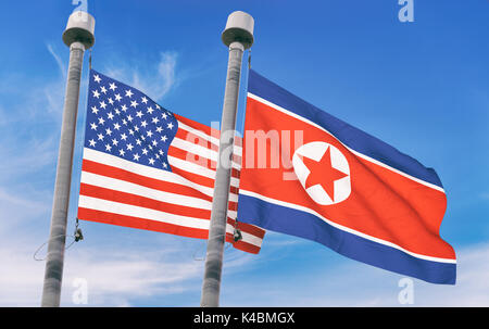 North Korea and USA flags over blue sky background (3D rendered illustration) - Stock Photo