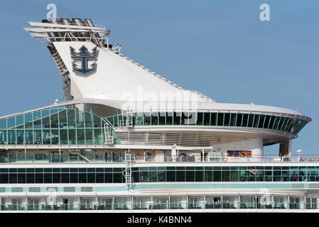 Section of the upper decks of the cruise ship Navigator of the Seas underway on Southampton Water England UK. August - Stock Photo