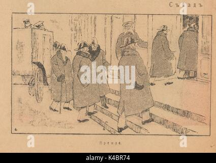 Cartoon of well-dressed government ministers entering the Russian congress building, with title 'Before', showing - Stock Photo