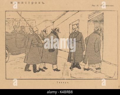 Cartoon by N Nikolayevskiy of Russian government ministers being placed under arrest during the Russian Revolution, - Stock Photo